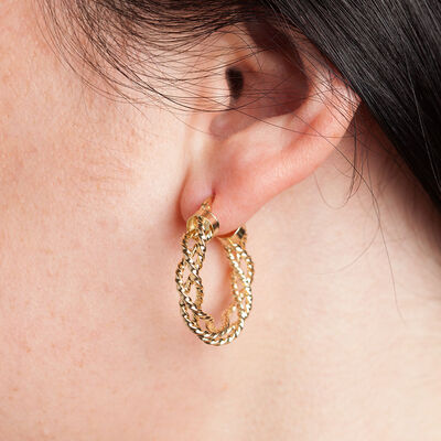 Woven Hoop Earring 14K