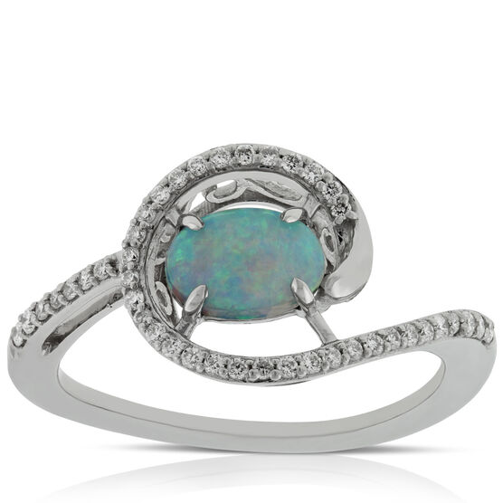 Opal & Diamond Swirl Ring 14K
