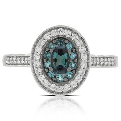 Halo Alexandrite & Diamond Ring 18K