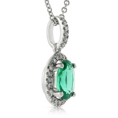 Oval Emerald & Diamond Pendant 14K