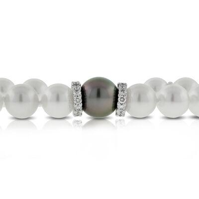 Mikimoto Akoya & Black South Sea Cultured Pearl Bracelet, 18K