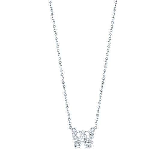 Roberto Coin Diamond Initial Pendant 18K Letter 'W'