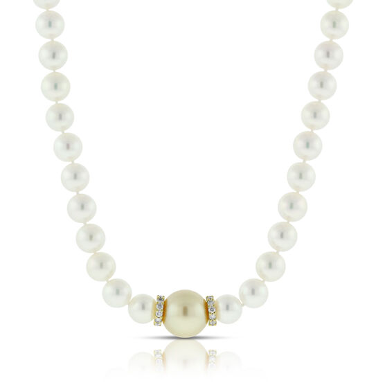 Mikimoto Cultured Akoya Pearl & Golden South Sea Necklace 18K