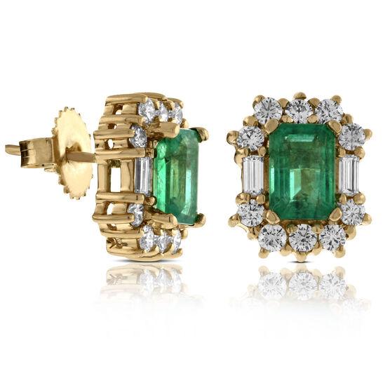 Emerald Cut Emerald & Diamond Earrings 14K