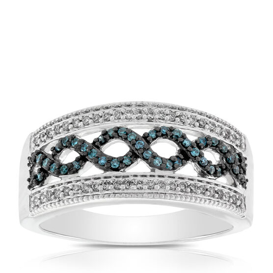 Blue & White Diamond Braid Ring 14K
