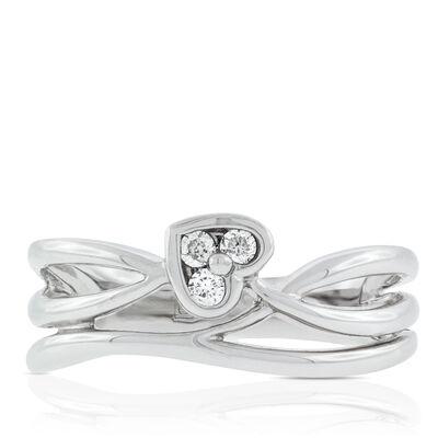 Diamond Heart Wrap Ring 14K