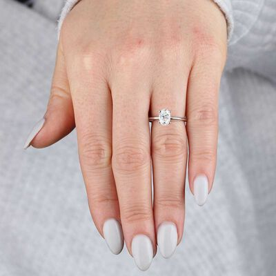 Oval Diamond Solitaire 14K, 1 ct.