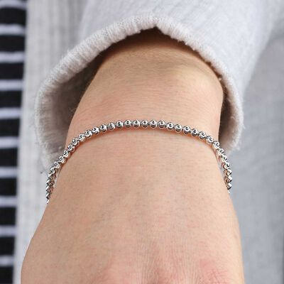 Stretchy Moon-Cut Bead Bracelet 14K