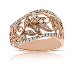 Rose Gold Filigree Floral Diamond Ring 14K