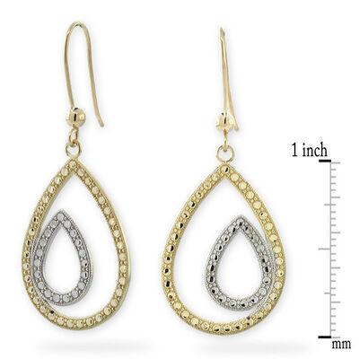 Diamond Cut Double Pear Shaped Earrings 14K