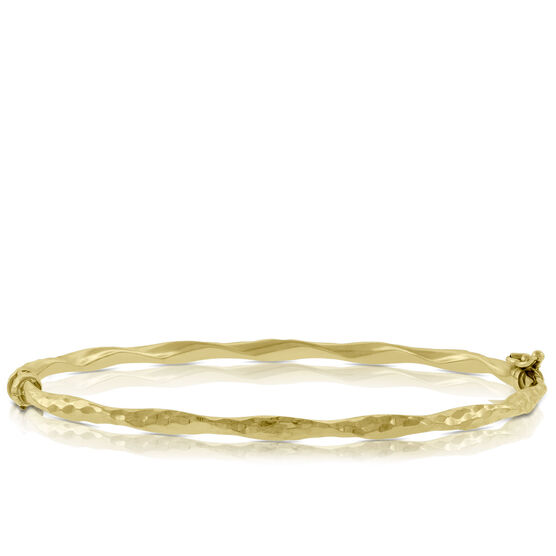 Gold Oval Twist Bangle 14K