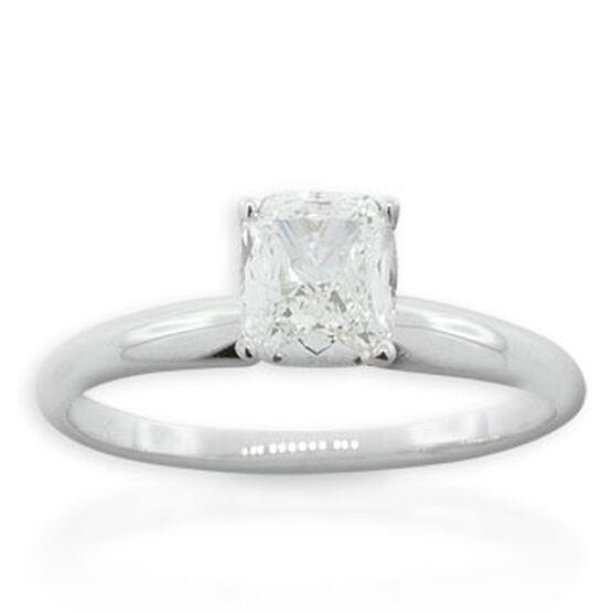 Cushion Cut Diamond Solitaire Ring 14K, 1 ct.