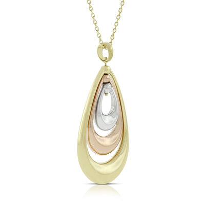 Toscano Tri-Colored Hoop Pendant 14K
