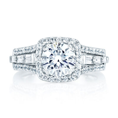 A.JAFFE Diamond Halo Semi-Mount Ring