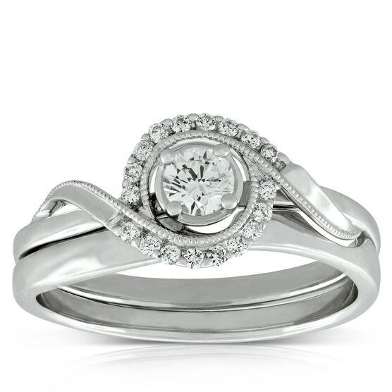 Diamond Swirl Wedding Set 14K