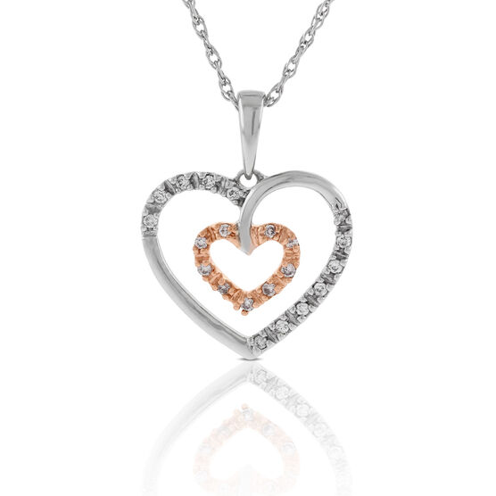Pink & White Diamond Heart Pendant 14K