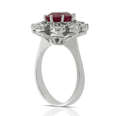 Ruby & Diamond Bold Halo Ring 14K