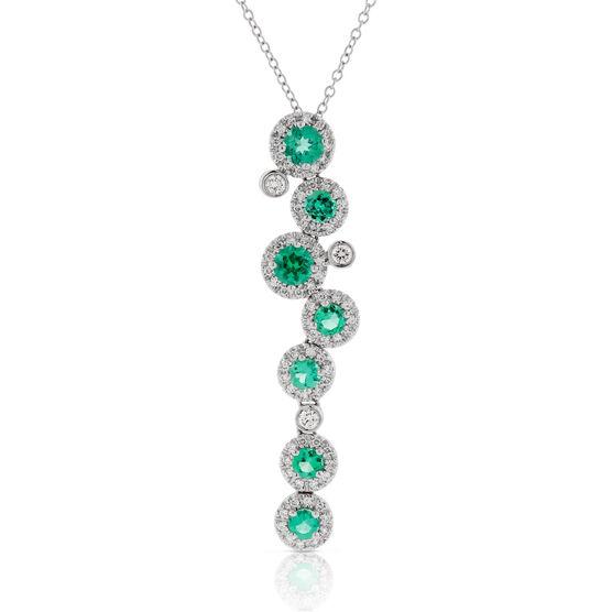 Emerald & Diamond Cascade Pendant 14K
