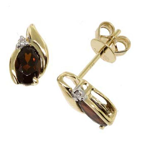 Garnet & Diamond Earrings 14K