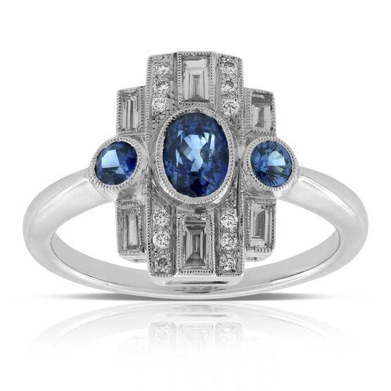 Deco Inspired Sapphire & Diamond Ring 14K