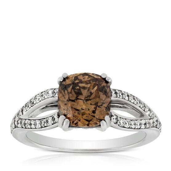 Cushion Cut Brown Diamond Ring, 2.14 Ct. Center, 14K