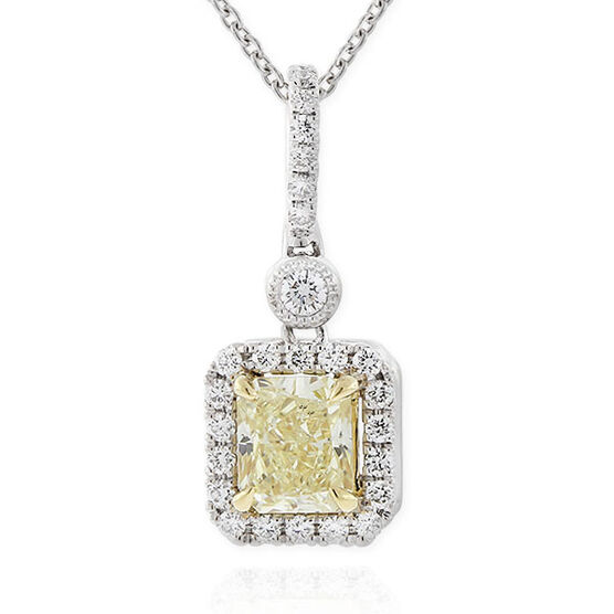 Radiant Cut Yellow Diamond Halo Pendant .72 Ct. Center, 18K