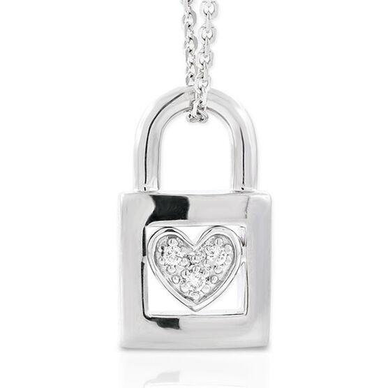 Diamond Padlock Pendant in Sterling Silver