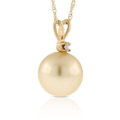 Golden South Sea Cultured Pearl & Diamond Pendant 14K