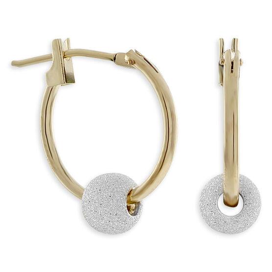 Bead Hoop Earrings in Sterling Silver & 14K