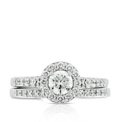 Diamond Halo Wedding Set 14K