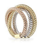 Roberto Coin Triple Row Ring 18K, Size 6.5