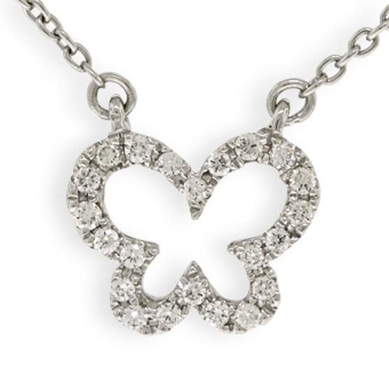 Tiny Butterfly Diamond Necklace 14K