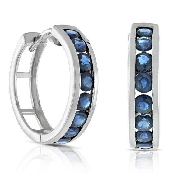 Sapphire Hoop Earrings 14K