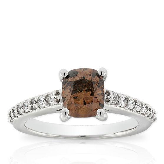 Cushion Cut Brown Diamond Ring, 1.58 Ct. Center, 14K