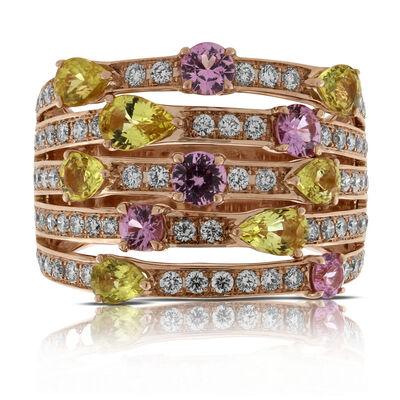 Rose Gold Multi-Colored Sapphire & Diamond Ring 14K