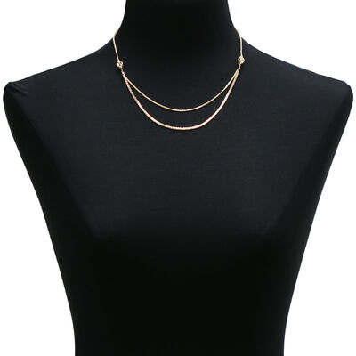 Graduated  Double Strand Necklace 14K