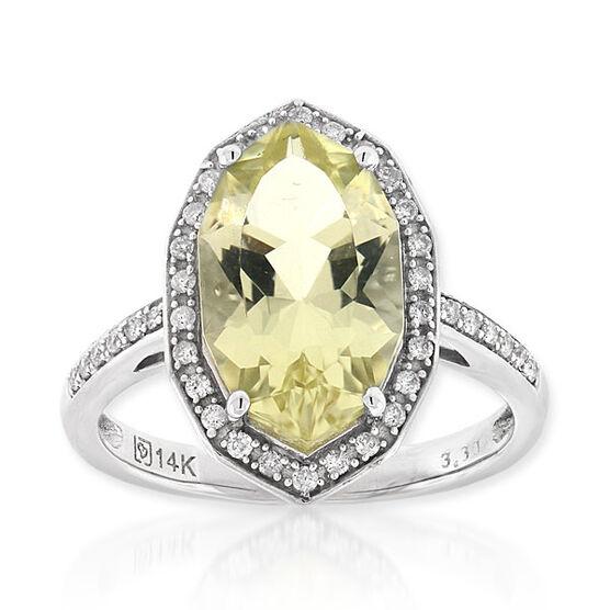 Quartz & Diamond Ring 14K