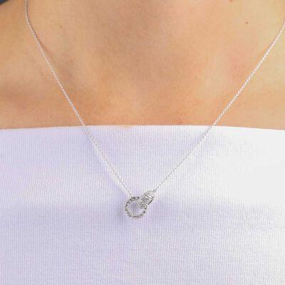 Diamond Circle Link Necklace 14K