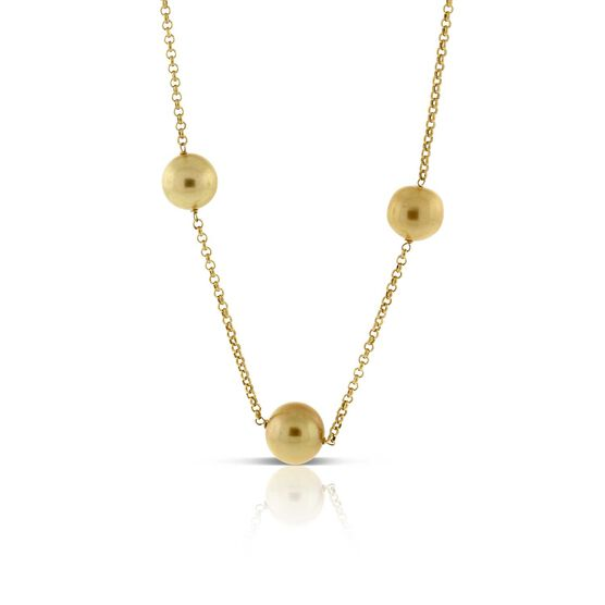 Golden South Sea Cultured Pearl Necklace 14K