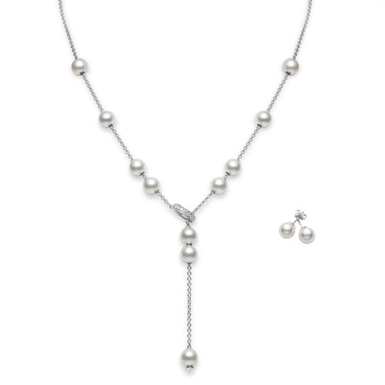 Mikimoto Akoya Cultured 'Pearls in Motion' Necklace & Earring Set, 18K