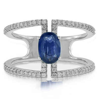 Double Band Sapphire & Diamond Ring 14K
