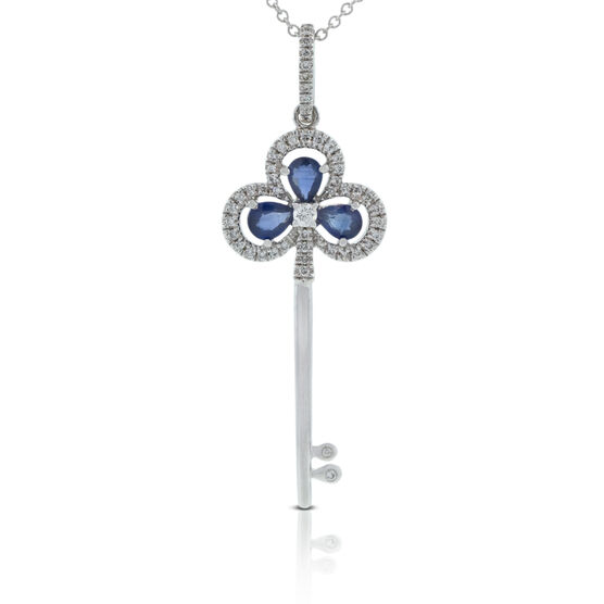 Sapphire & Diamond Key Pendant 14K