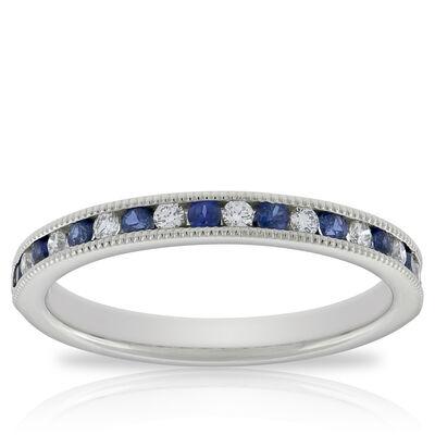 Sapphire & Diamond Band in Platinum
