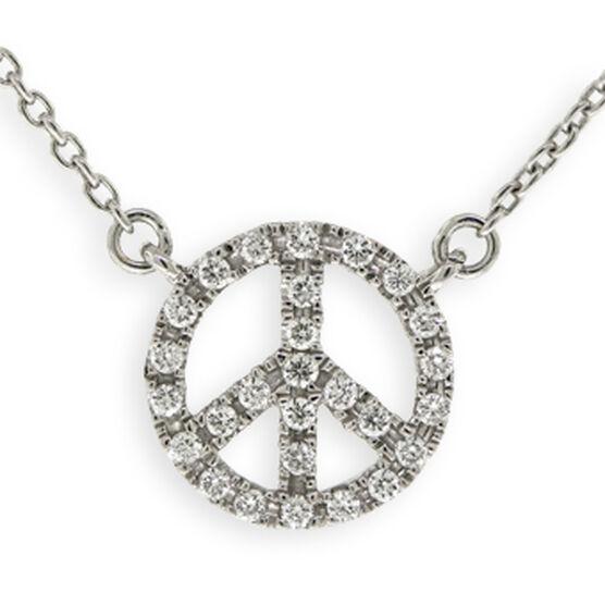 Tiny Peace Sign Diamond Necklace 14K