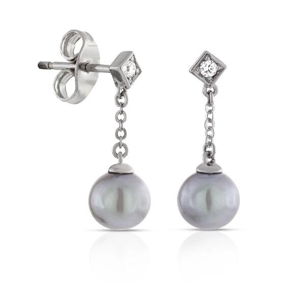 Dyed Freshwater Cultured Pearl & Diamond Earrings 14K