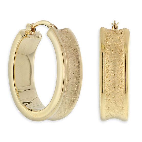 Concave Oval Hoop Earrings, 18K over Sterling Silver