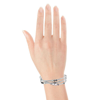 Lisa Bridge Moonstone and Rose Quartz Bangle Bracelet