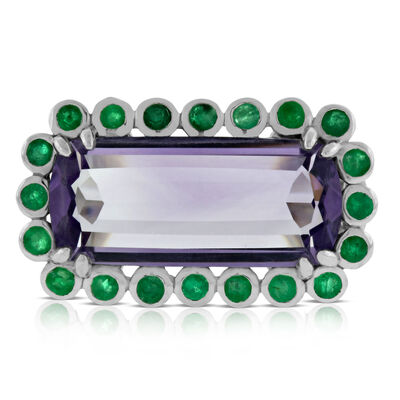 Lisa Bridge Amethyst & Emerald Ring
