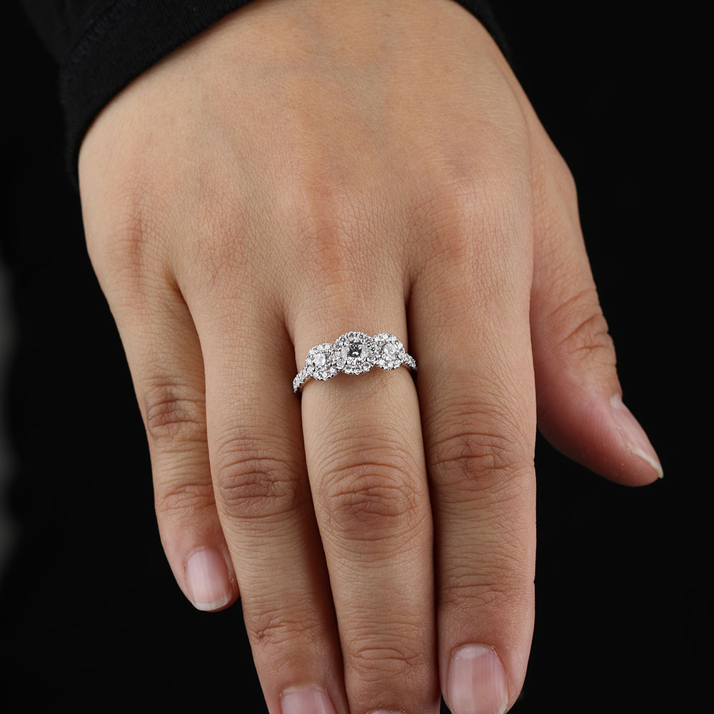 Three Diamond Halo Ring