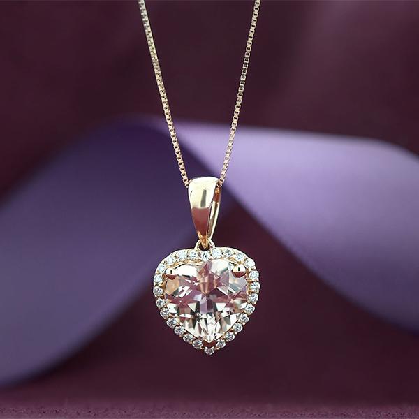 Rose gold morganite diamond heart pendant 14k ben bridge jeweler rose gold morganite diamond heart pendant 14k mozeypictures Images